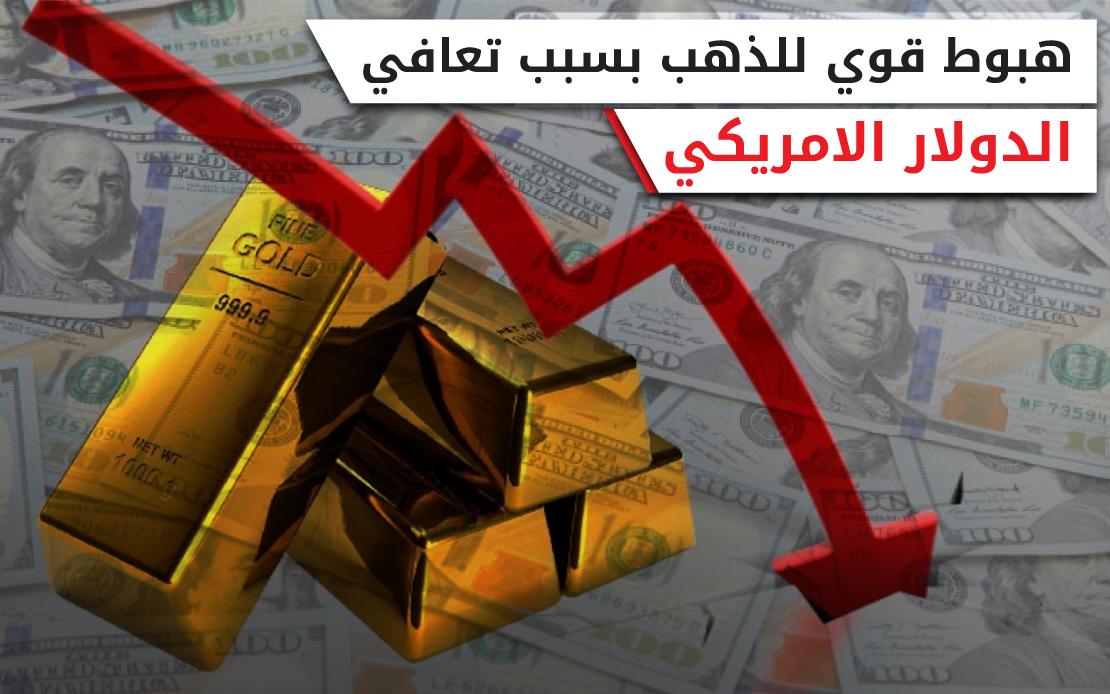 هبوط قوي للذهب بسبب تعافي الدولار الأمريكي